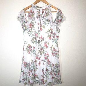 clockhouse Dresses - Clockhouse Floral Dress Cold Shoulder Lined Sz L